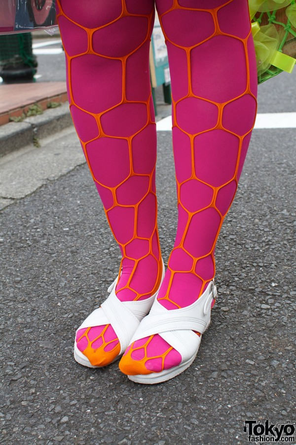 White sandals, fuchsia tights & orange fishnets