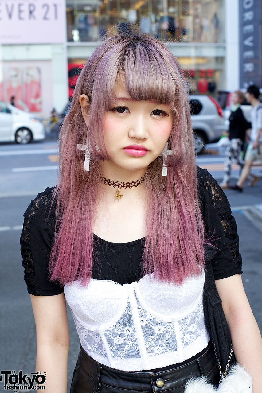 Lavender Pink Hair Bustier Top Leather Skirt Amp Platforms
