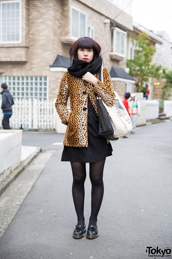 Leopard Print Coat W Black Dress Amp Dr Martens In Harajuku