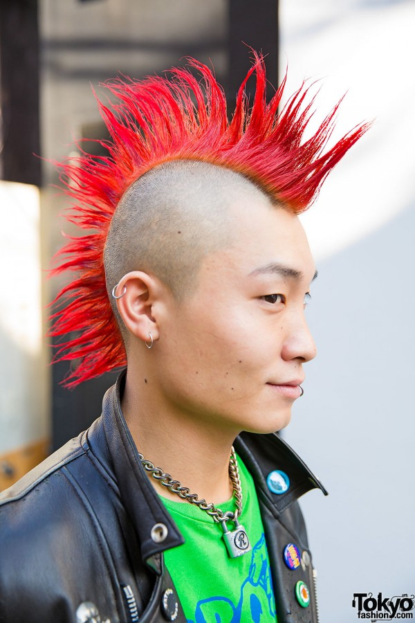 Harajuku Punk W Red Mohawk Leather Jacket BQ Design
