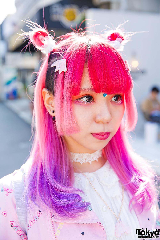 Harajuku Girl W Pink Amp Purple Hair In Milklim 6DOKIDOKI