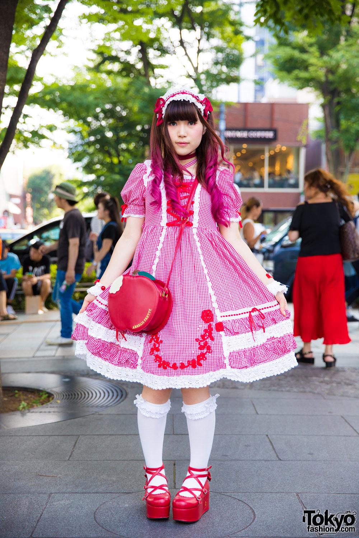 Gingham Lolita Fashion On The Street In Harajuku W Baby