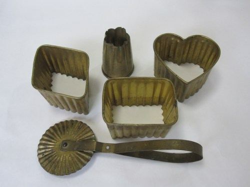 vintage brass japanese cookie cutters and crimper