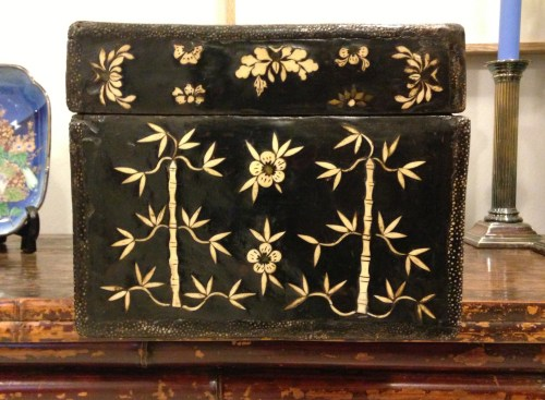Chinese ivory inlaid box bamboo detail
