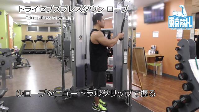トライセプスプレスダウン(ロープ)で上腕三頭筋に効果を出すやり方と基本フォーム