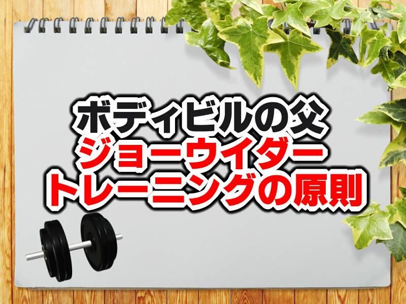 ウイダートレーニング法の原則全32種を紹介!筋トレの基本知識!