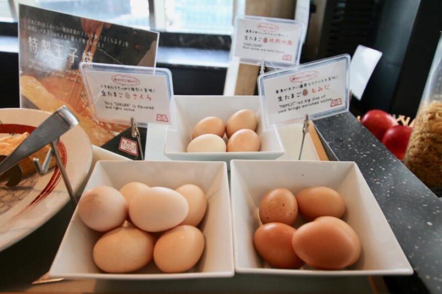 ホテル龍名館東京 生卵は「比内地鶏」「さくら」「もみじ」の3種類も