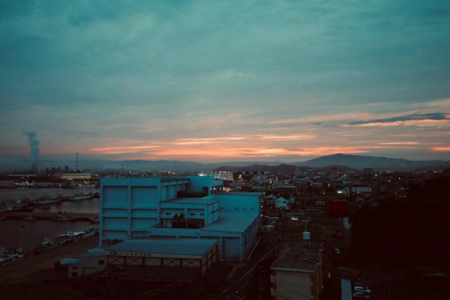 割烹旅館 天地閣から見る夕焼け