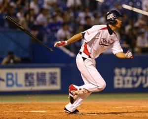 Muranaka helps his own cause by hitting a triple and knocking in a run to take the lead.