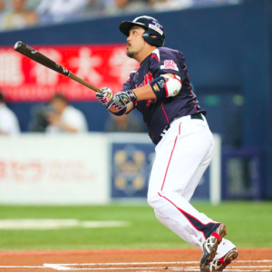 Hatake hits a laser beam into the outfield seats.