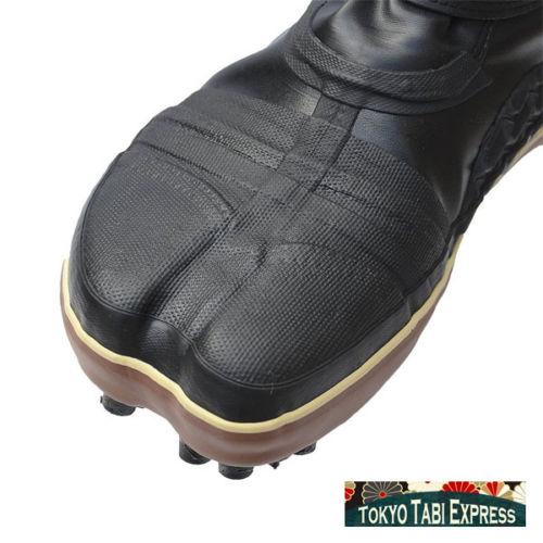 Black Shoes Black Spiked Brown Stripe Tabi Ninja Boots Japanese