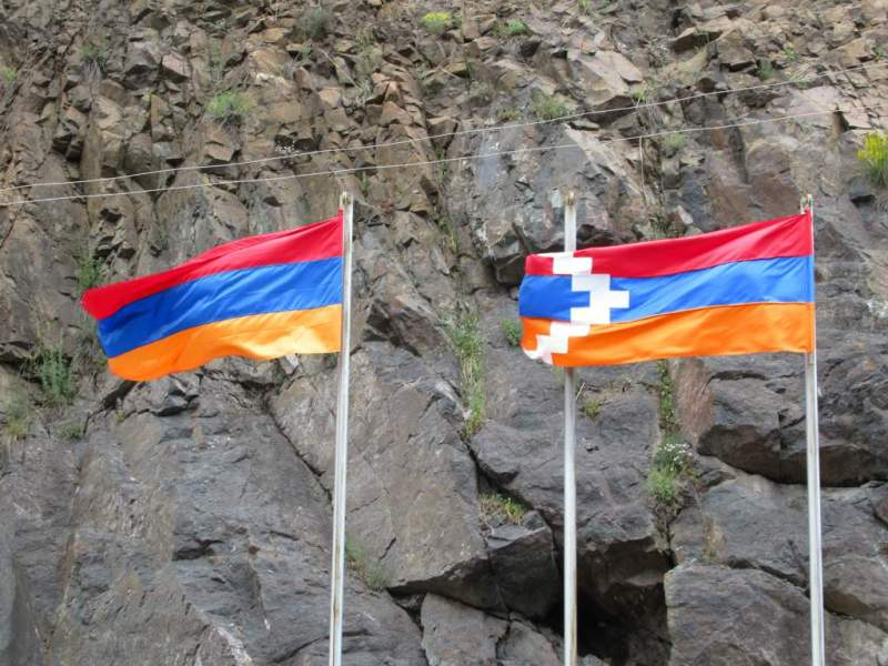 Nagorno Karabakh flag, border with Armenia, photo by Stanley / Flickr
