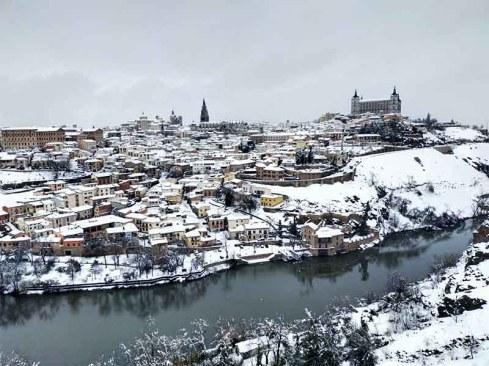 Panorámica de Toledo nevado