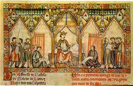 Miniatura de las Cantigas de Santa María que muestra a Alfonso X el Sabio dictando.