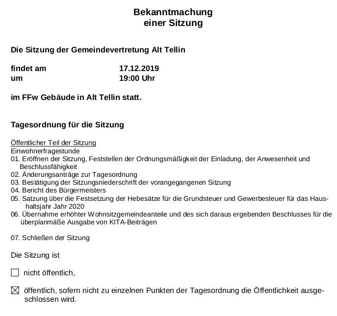 Sitzung der Gemeindevertretung Alt Tellin/ Einwohnerfragestunde