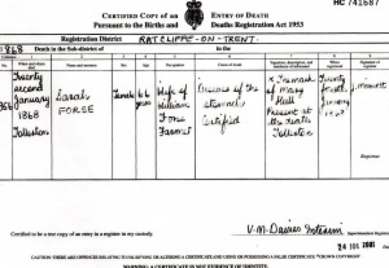 Death Certificate of Sarah Forse