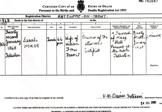 Death Certificate of Sarah Forse