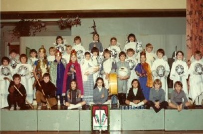 The pupils of class 4 performed a Nativity play with a difference in 1974. One of the numerous plays Mrs Gretton would have watched during her 17 years