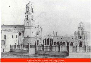 Litografía del Convento Franciscano de Nuestra Señora de la Asunción de TOLUCA.