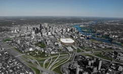Kinda looks like the Metrodome from above, but how about that awesome view of the freeway.