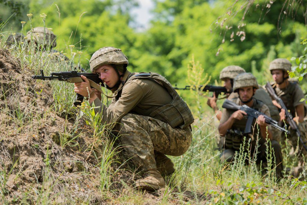 portrait of ukrainian soldiers training