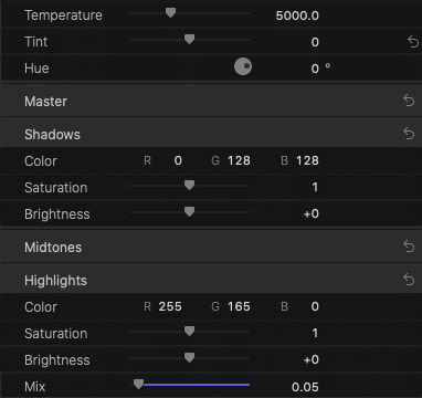 RGB Value in the RGB Input and mix slider FCPX.
