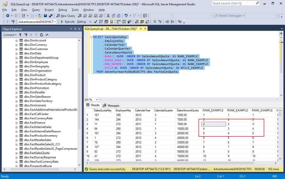 Funkcje rankingu w SQL Server