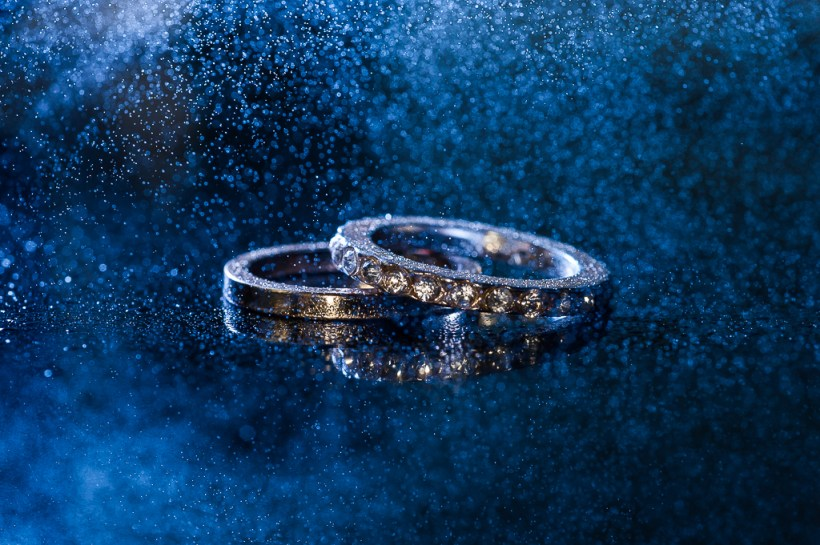 Wedding rings; blue; water
