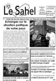 A recent cover of the state paper, Le Sahel, focuses on the PM's meetings abroad, and the National Assembly meeting at home.