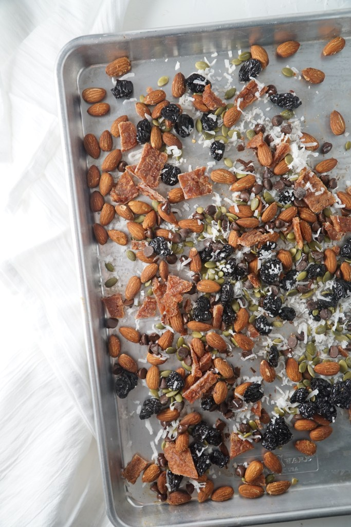 A sheet pan with trail mix