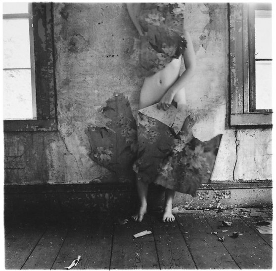 Francesca Woodman, Space2, 1976, black-and-white photograph, 5 2/5 in. x 5 1/5 in.