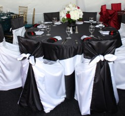Black Satin Tables under Tent