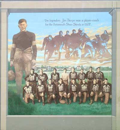 Jim Thorpe & Portsmouth Shoe-Steels mural
