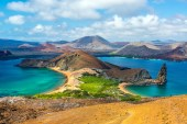 View of two beaches on Bartolome Island in the Galapagos Islands in Ecuador
