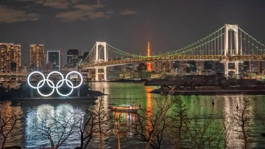 Olympic Rings Tokyo Harbor Night