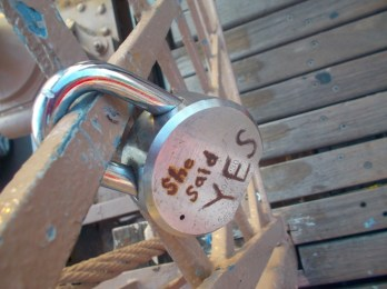 Apparently there is a section on the bridge for locks. I thought this was sweet.