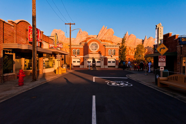Sunset on Cars Land in Disney California Adventure. See more Cars Land photos by Tom Bricker: https://www.disneytouristblog.com/cars-land-photos/