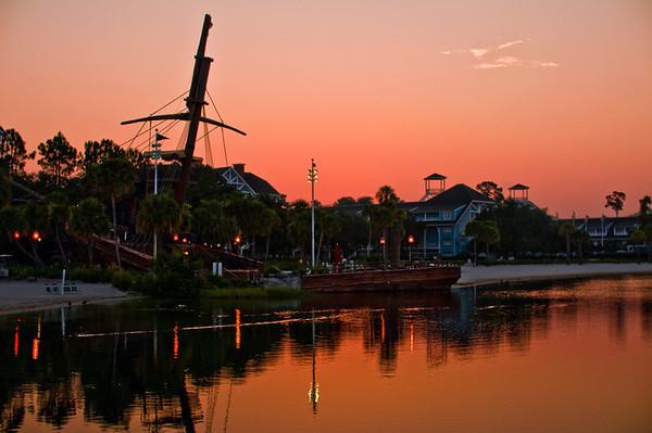 The sunrise above Disney's Yacht & Beach Club Resort.Visit my blog for info, photos, and reviews of Disney hotels: http://www.disneytouristblog.com/disney-resorts/