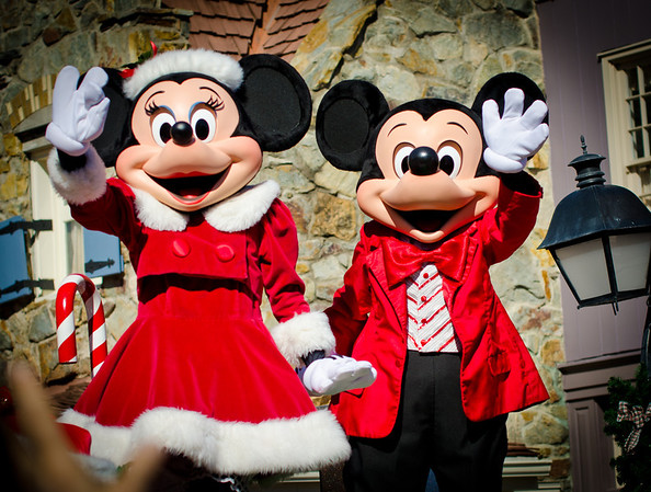Walt Disney World ResortMagic KingdomMickey's Once Upon A Christmastime ParadeMickey Mouse and Minnie Mouse in their holiday finery! They look ready for Christmas!More information, tips, and planning information for Christmas at Walt Disney World: https://www.disneytouristblog.com/disney-world-christmas-ultimate-guide/