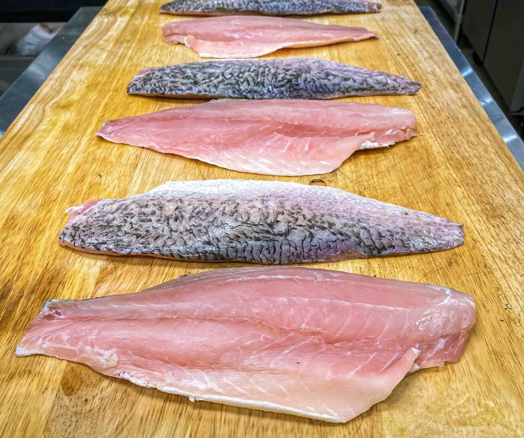 Seafood that is fresh caught and flown in weekly