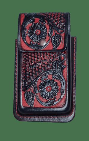 Porta celular flor negro de piel