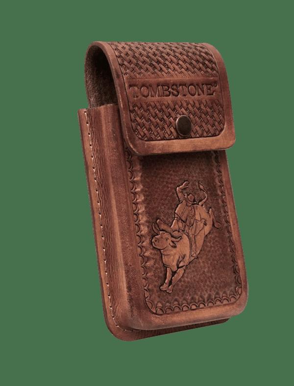 Porta celular flor capuccino de piel