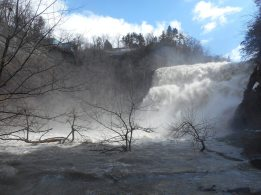 Another view of Ithaca Falls with a roaring, raging, torrent of snow melt furiously falling! The force of it all gave off a strong spray laden-ed wind... All the gorges are at high tide