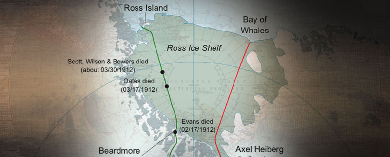 South Pole Route Maps - Scott, Amundsen, Shackleton.