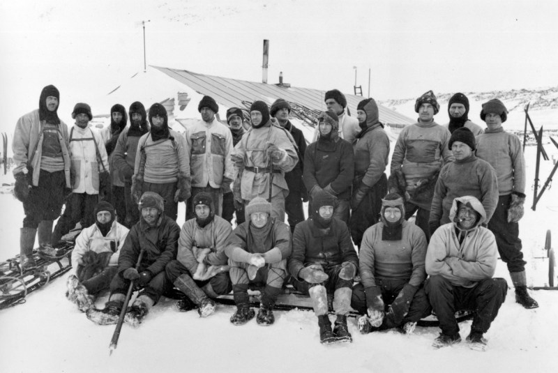 The Terra Nova Expedition - Tom Crean sits in front row, right.