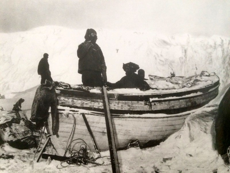 Preparing the James Caird for it's epic voyage, at Elephant Island, in April 1916.