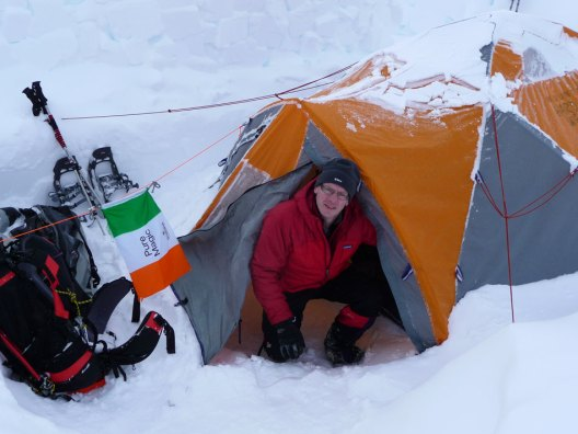 Jerry O'Sullivan, at camp, on the route to Denali.