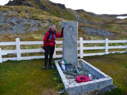 At Shackleton's Grave in Grytviken, South Georgia