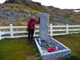 At Shackleton's Grave in Grytviken, South Georgia
