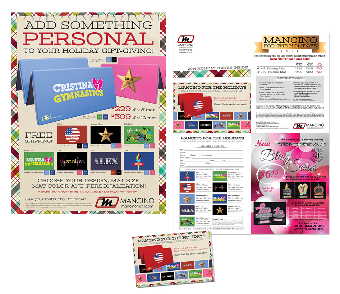 holiday poster and mailer for mancino